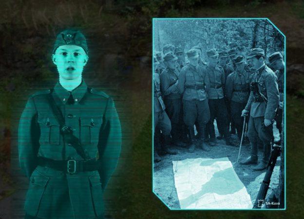 kuvankaappaus sovelluksesta, sotilashahmo seisoo valokuvan vieressä